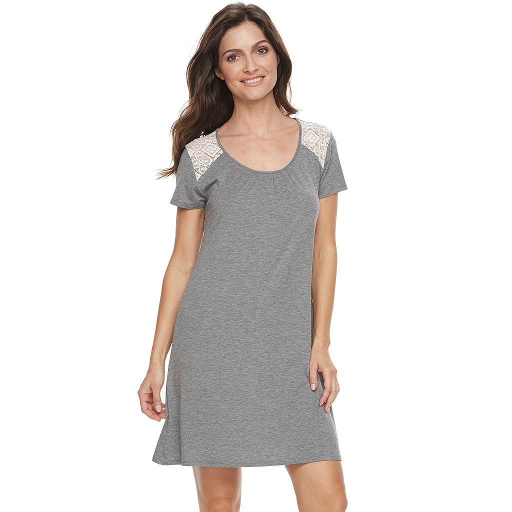 Women's Croft & Barrow® Pajamas: Lace Trim Sleep Shirt
