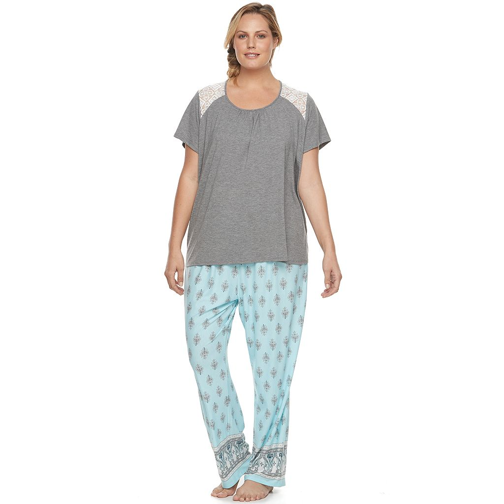 Plus Size Croft & Barrow® Pajamas: Lace Trim Tee & Pants PJ Set