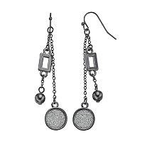 Glittery Disc Nickel Free Double Linear Earrings