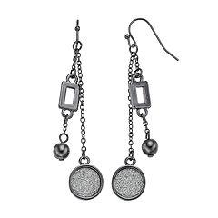 Glittery Disc Nickel Free Double Linear Earrings