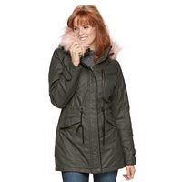 Women's Sebby Collection Faux-Fur Trim Parka