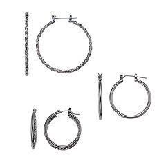 Twisted Nickel Free Hoop Earring Set