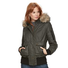 Women's Sebby Collection Faux-Fur Trim Bomber Parka