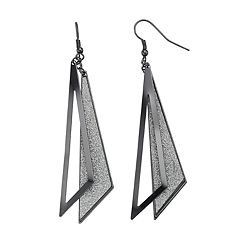 Glittery Triangle Nickel Free Drop Earrings