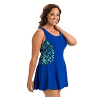Plus Size Dolfin Aquashape Tummy Slimmer Colorblock Swimdress