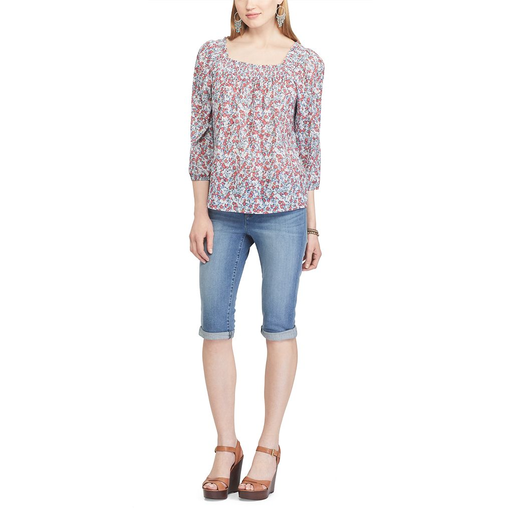 Women's Chaps Smocked Squareneck Top
