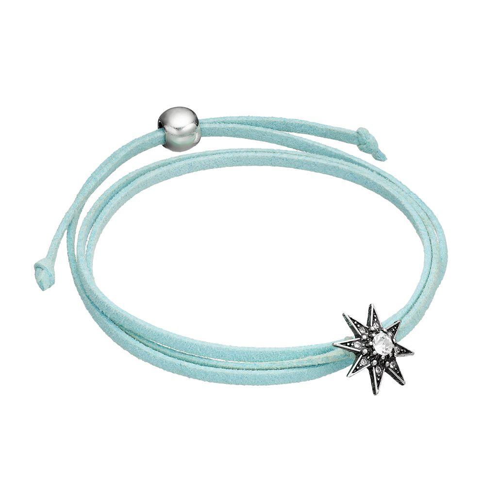 Aqua Starburst Faux Suede Wrap Bracelet