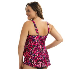 Plus Size Dolfin Aquashape Tummy Slimmer Tiered One-Piece Swimsuit