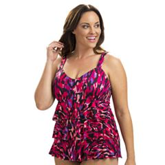 Plus Size Dolfin Aquashape Tummy Slimmer Tiered One-Piece Swimsuit