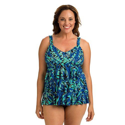 139b5545ab0 Plus Size Dolfin Aquashape Tummy Slimmer Tiered One-Piece Swimsuit