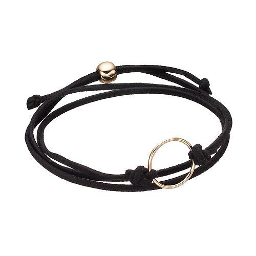 Black Circle Faux Suede Wrap Bracelet