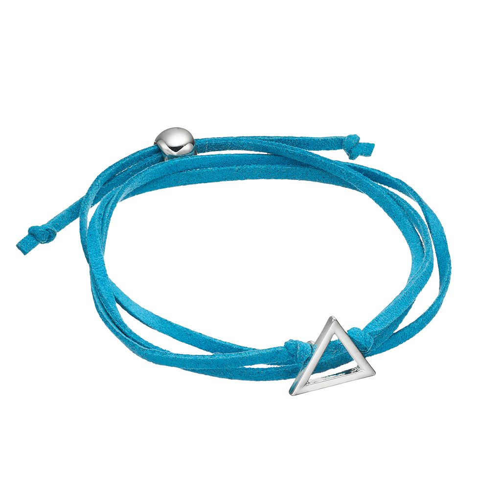 Blue Triangle Faux Suede Wrap Bracelet