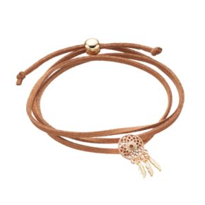 Brown Dream Catcher Faux Suede Wrap Bracelet