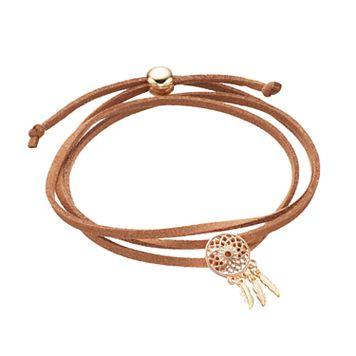 Brown Dream Catcher Faux Suede Wrap Bracelet