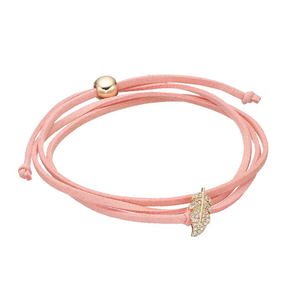 Pink Feather Faux Suede Wrap Bracelet