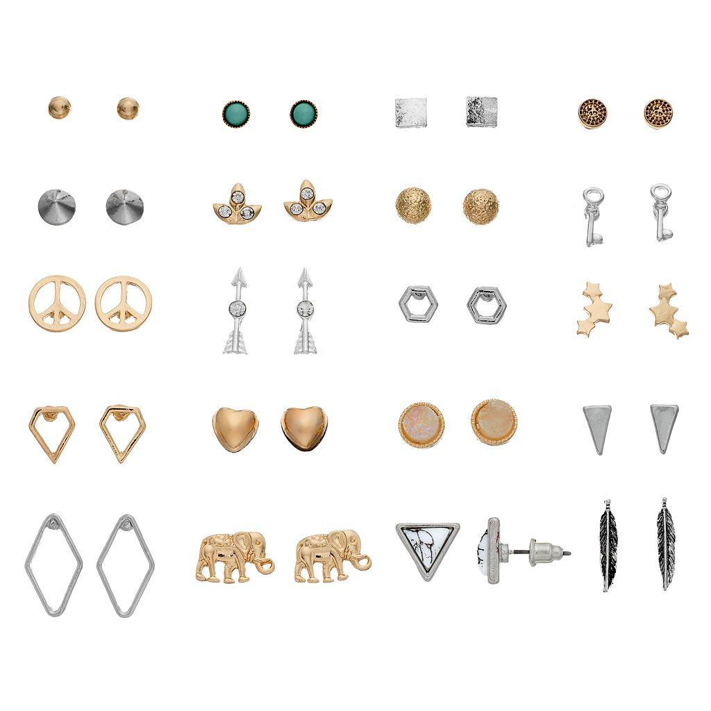 Elephant, Arrow, Key & Peace Sign Stud Earring Set