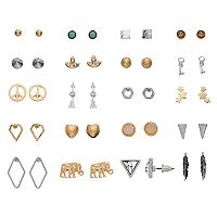 Elephant, Arrow, Key & Peace Sign Stud Earring Set