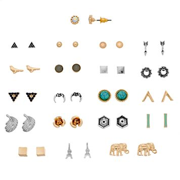 Elephant, Eiffel Tower & Bird Stud Earring Set