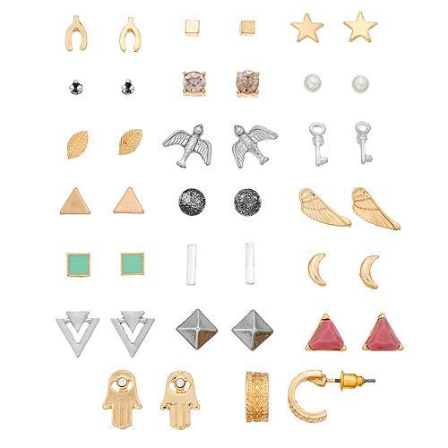 Hamsa, Wings, Bird & Moon Stud Earring Set