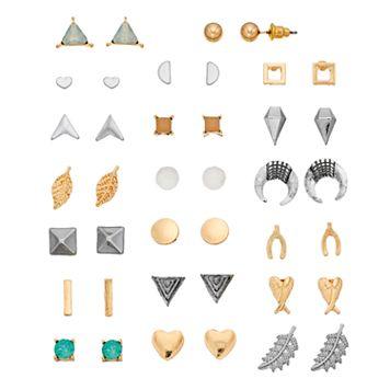 Leaf, Heart & Pyramid Stud Earring Set