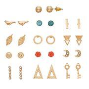 Key, Rose, Crescent & Feather Stud Earring Set