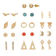 Key, Rose, Crescent & Feather Stud Earring Set