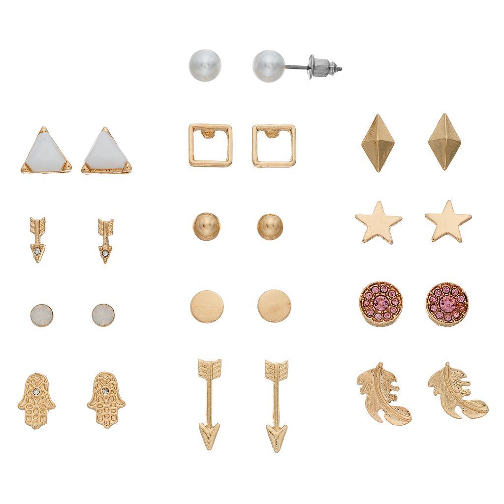 Hamsa, Arrow & Star Stud Earring Set