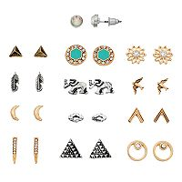Feather, Bird & Crescent Stud Earring Set