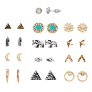 Feather, Bird & Crescent Stud Earring Set