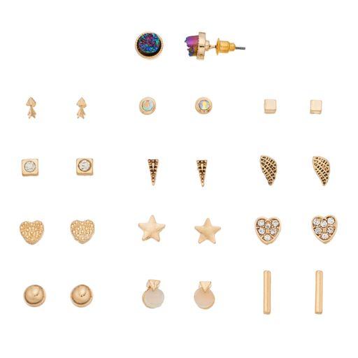 Star, Wing & Heart Stud Earring Set