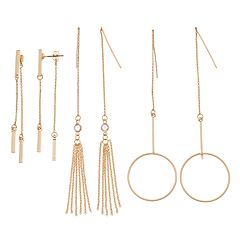 Chain Fringe, Drop Hoop & Bar Front Back Earring Set