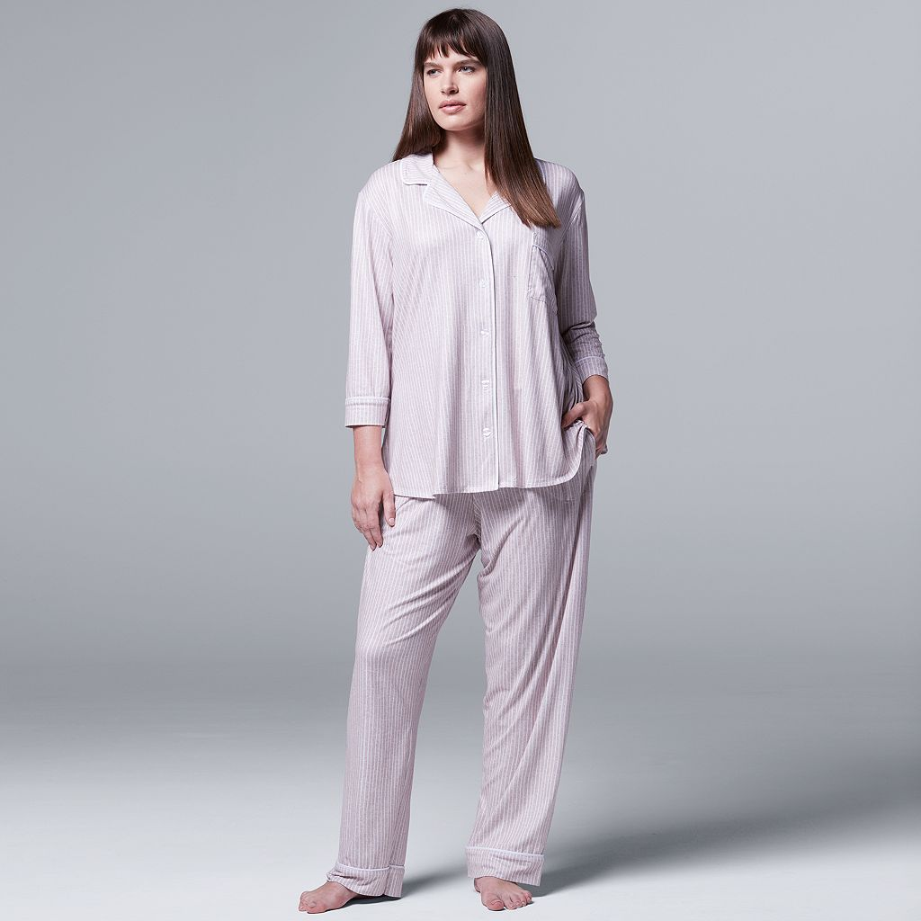 Plus Size Simply Vera Vera Wang Pajamas: Flirting With Autumn Top & Pant PJ Set