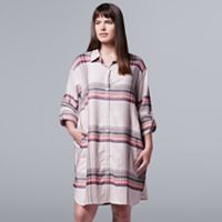 Plus Size Simply Vera Vera Wang Pajamas: Flirting With Autumn Long Sleeve Flannel Sleep Shirt