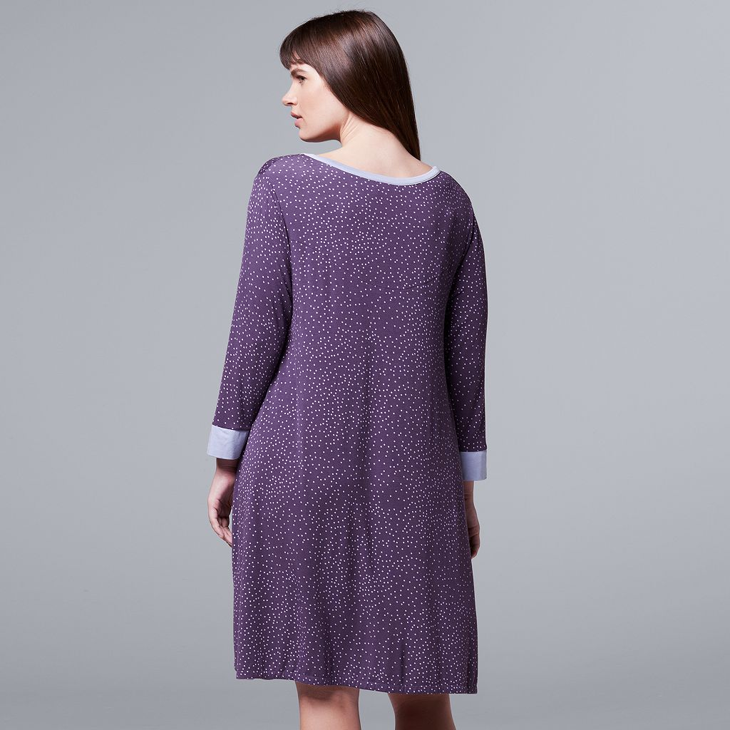Plus Size Simply Vera Vera Wang Pajamas: Flirting With Autumn 3/4 Sleeve Sleep Shirt