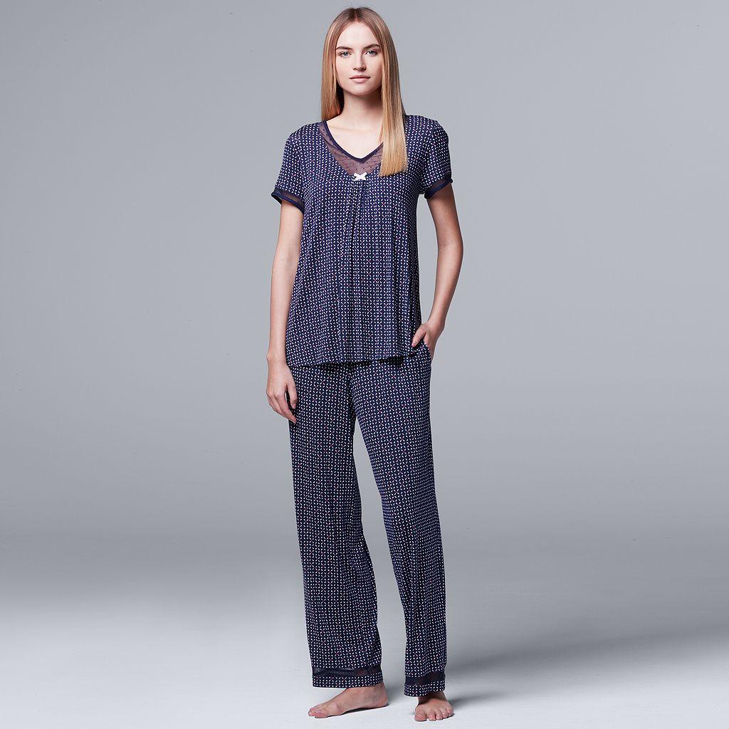 Women's Simply Vera Vera Wang Pajamas: Daytime Dreamer Short Sleeve Top & Pants PJ Set