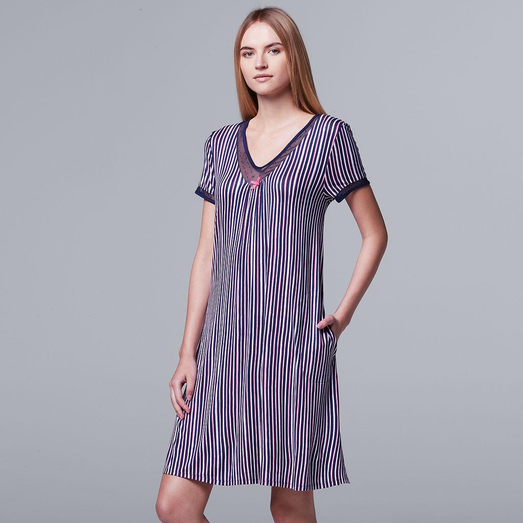 Women's Simply Vera Vera Wang Pajamas: Daytime Dreamer Short Sleeve Sleep Shirt