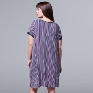 Plus Size Simply Vera Vera Wang Pajamas: Daytime Dreamer Short Sleeve Sleep Shirt