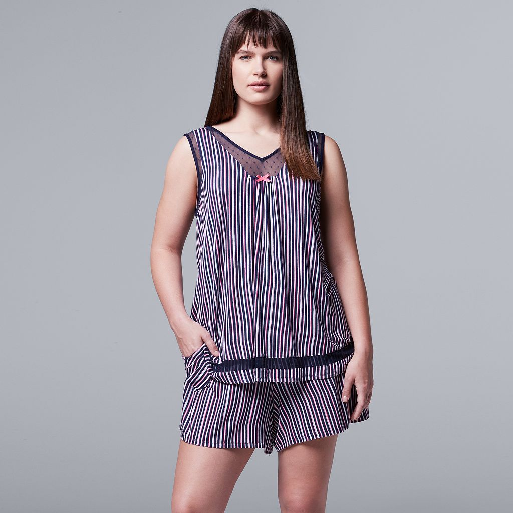 Plus Size Simply Vera Vera Wang Pajamas: Daytime Dreamer Tank & Boxer Shorts PJ Set