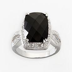 Sterling Silver 1/10-ct T.W. Diamond Black Onyx Ring