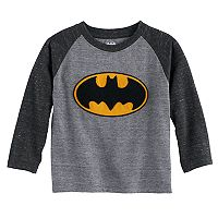 Toddler Boy DC Comics Batman Applique Logo Raglan Tee