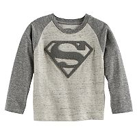 Toddler Boy DC Comics Superman Applique Logo Raglan Tee