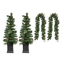 St. Nicholas Square® Porch Tree & Christmas Garland 4-piece Set