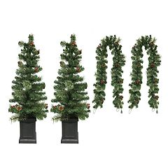 st nicholas square porch tree christmas garland 4 piece set sale - Cheap Christmas Trees Online