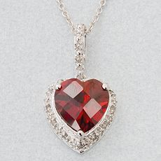 Sterling Silver 1/10-ct T.W. Diamond Ruby Heart Pendant :  necklace girlfriend ruby heart