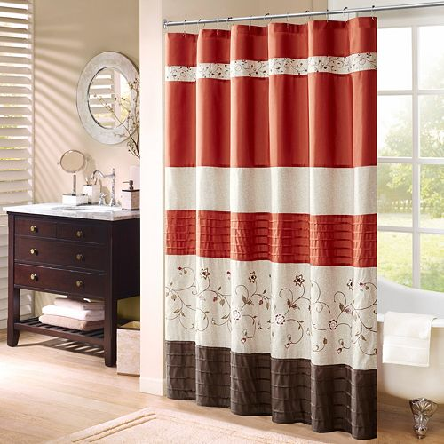 Madison Park Embroidered Floral Shower Curtain