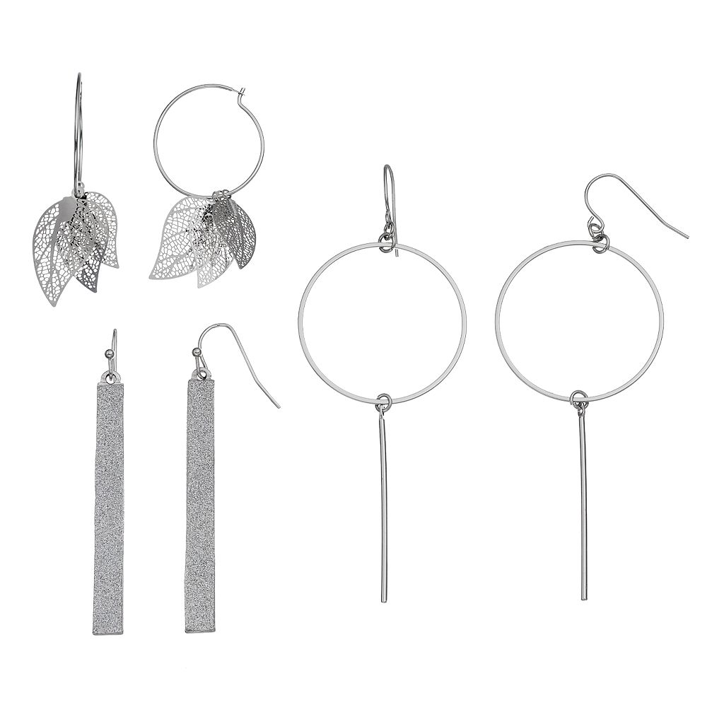 Filigree Leaf Hoop & Bar Drop Earring Set