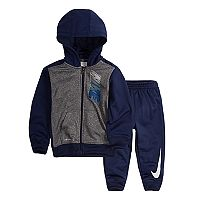 Toddler Boy Nike Therma-FIT Colorblock Logo Zip Hoodie & Pants Set
