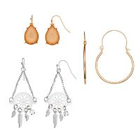 Teardrop, Leaf Fringe Disc Drop & Hoop Earring Set