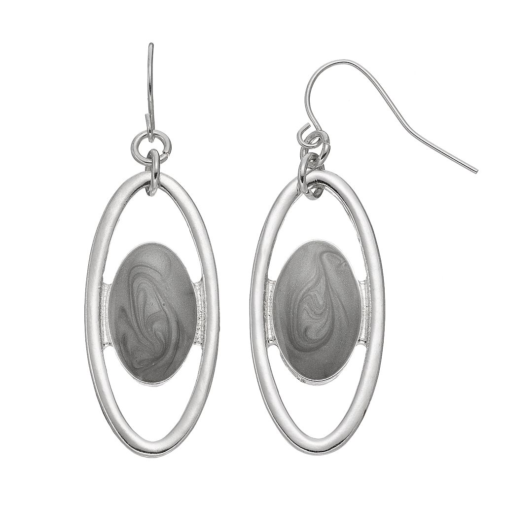 Gray Oval Orbital Nickel Free Drop Earrings