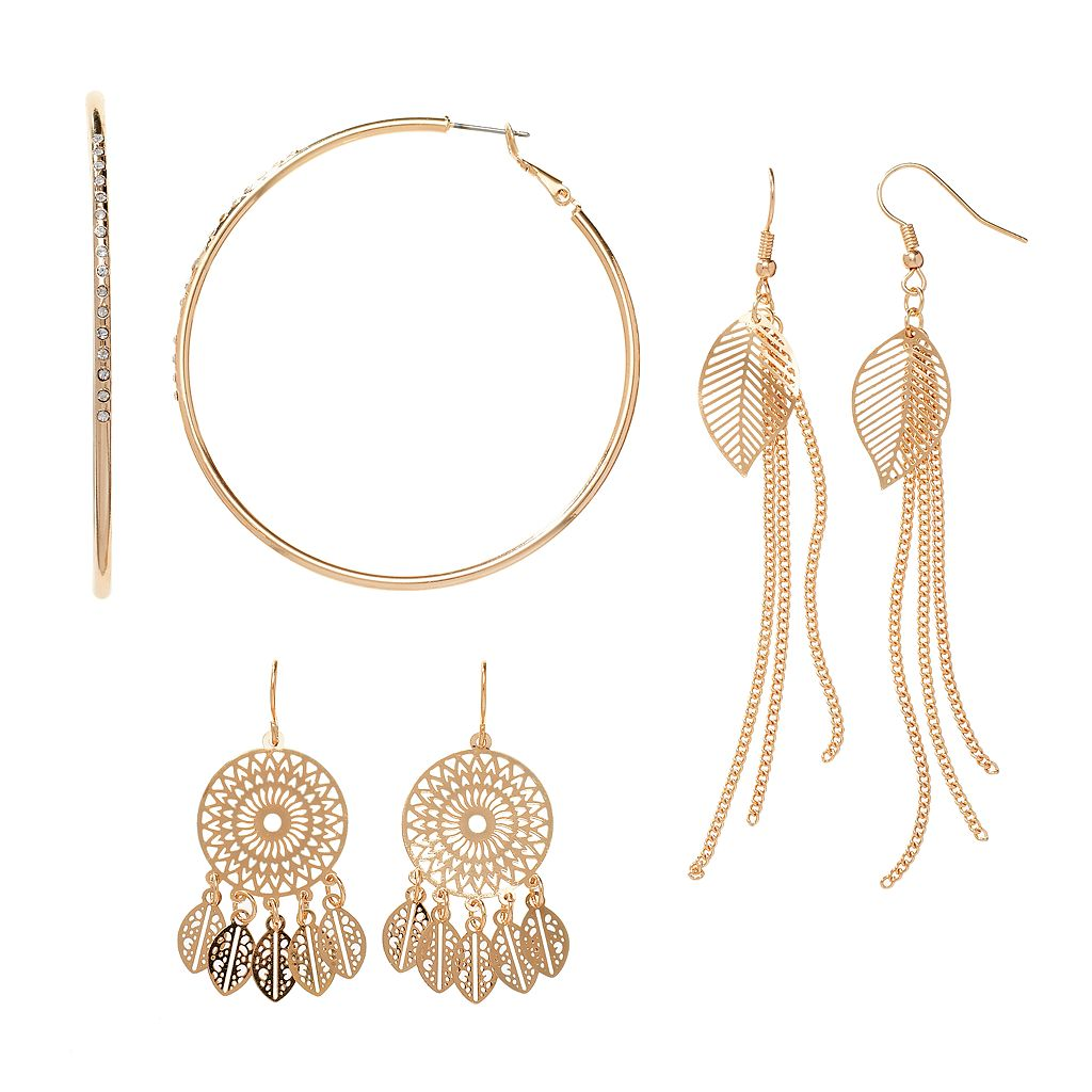 Dream Catcher, Leaf Fringe & Hoop Nickel Free Earring Set